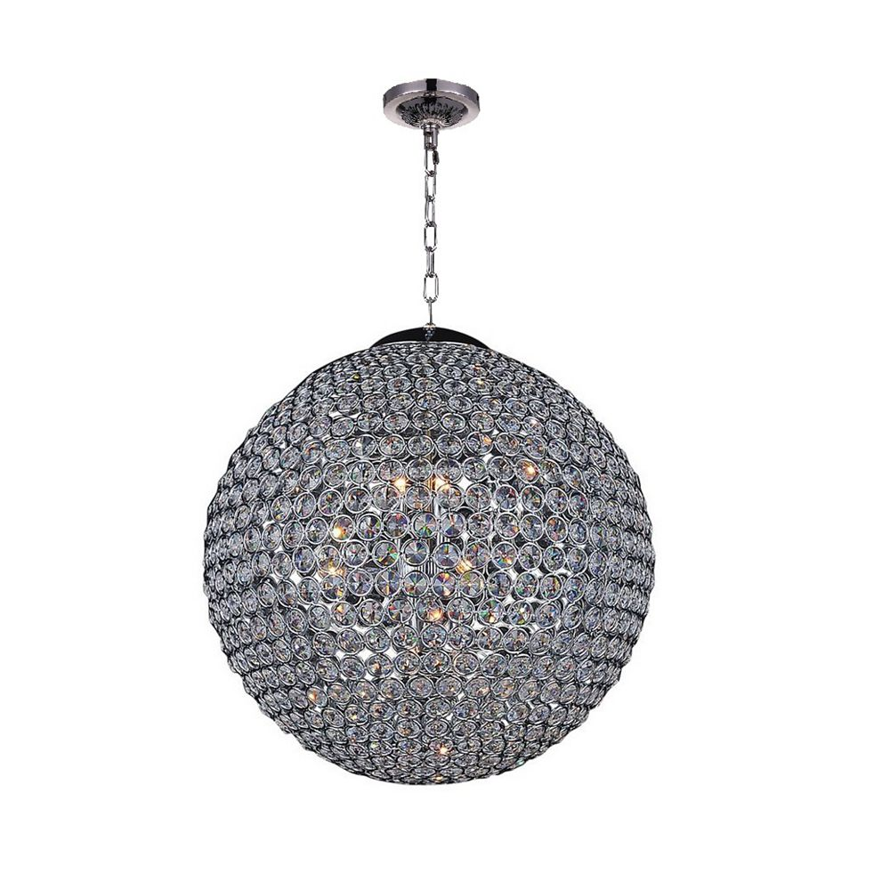 CWI Lighting Globe 32 inch 20 Light Chandelier with Chrome Finish