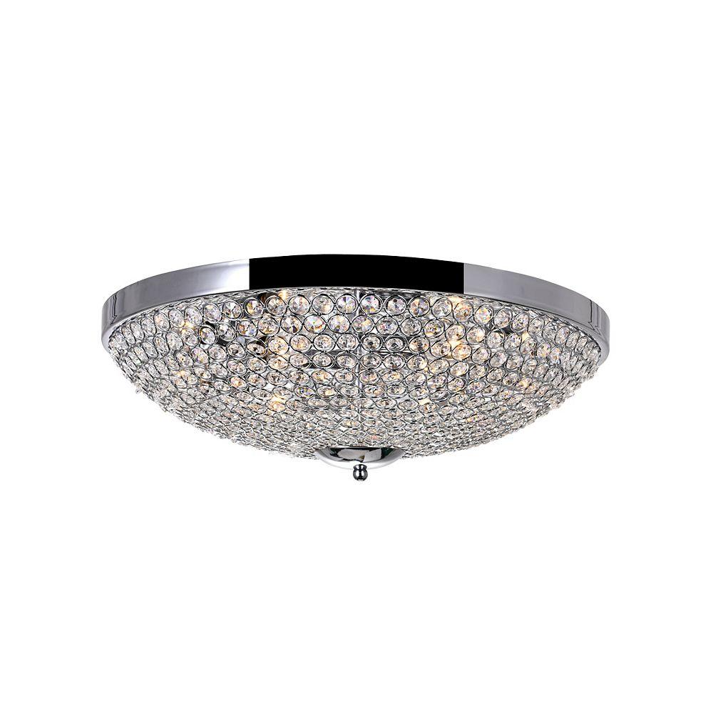 CWI Lighting Globe 20 inch 6 Light Flush Mount with Chrome Finish