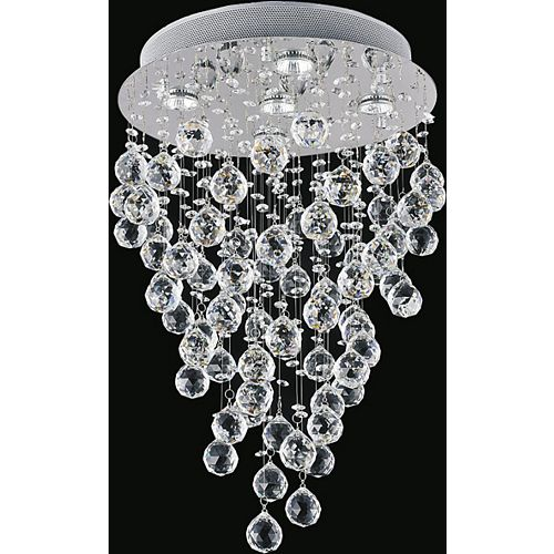 CWI Lighting Rain Drop 16 inch 5 Light Flush Mount with Chrome Finish
