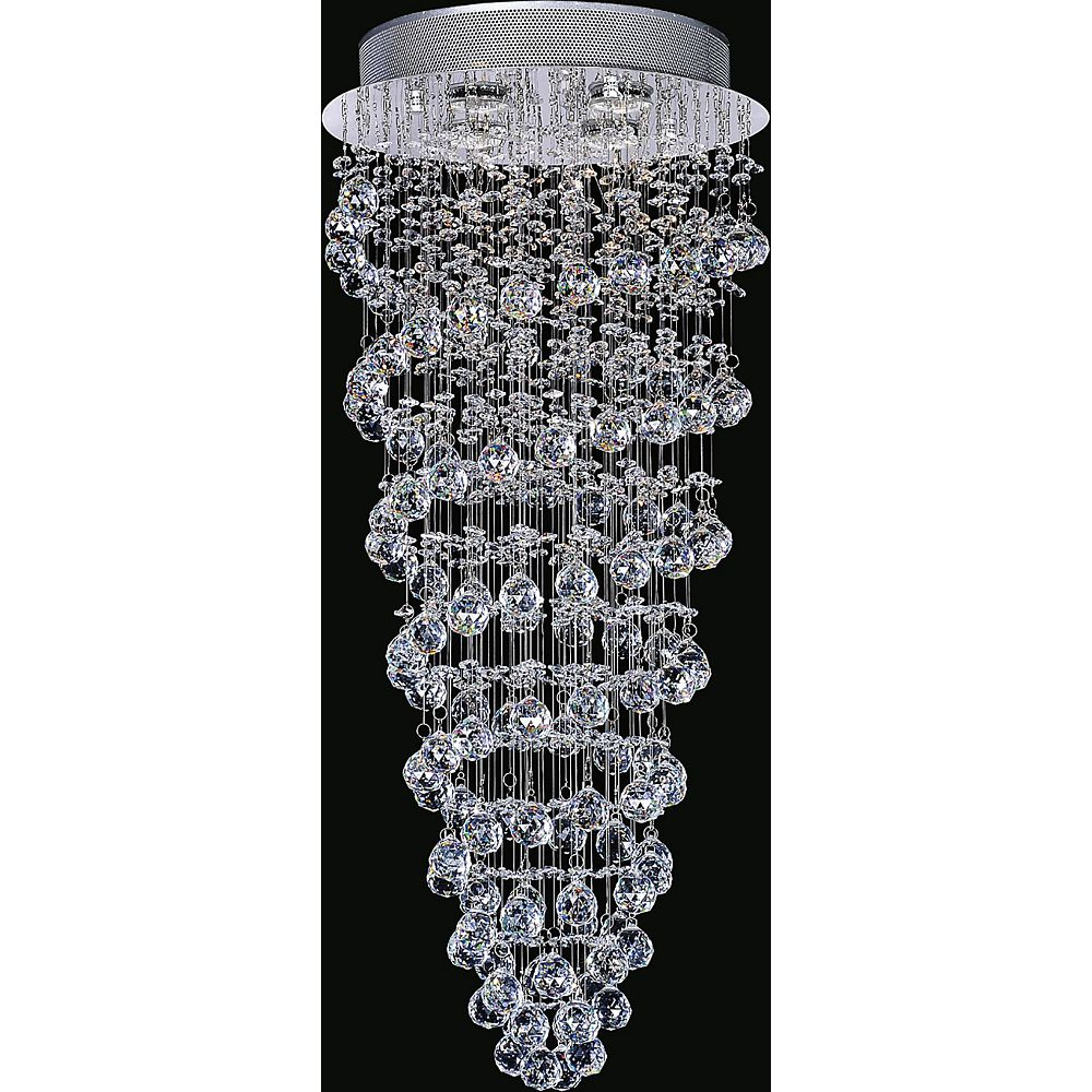 CWI Lighting Double Spiral 14 inch 4 Light Flush Mount with Chrome Finish