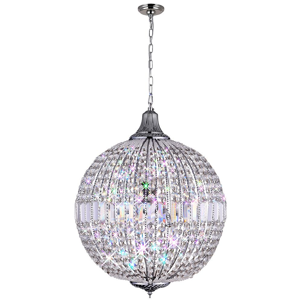 CWI Lighting Globe 18 inch 4 Light Chandelier with Chrome Finish