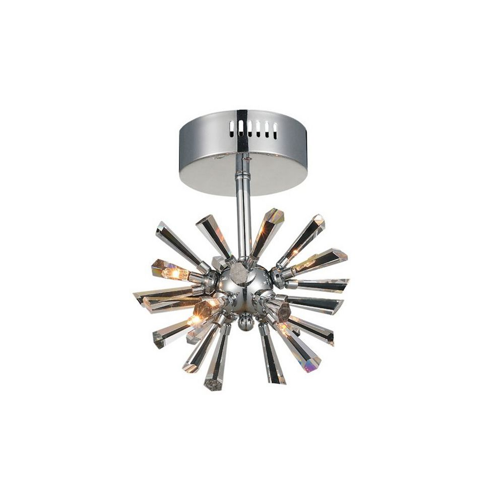 CWI Lighting Flair 8 inch 4 Light Flush Mount with Chrome Finish
