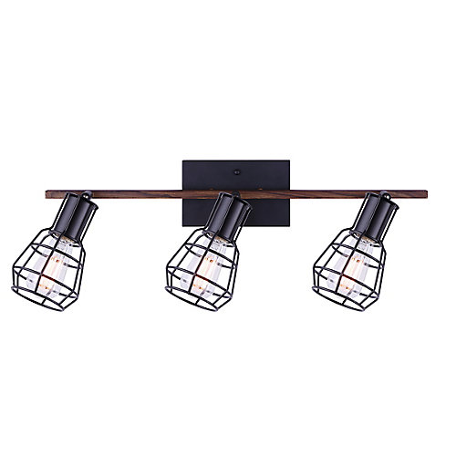 Rail d'éclairage à 3 lumières TOMA noir mat et faux bois avec cage en métal