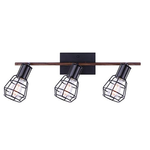TOMA 3-light matte black & faux wood track light with metal cage