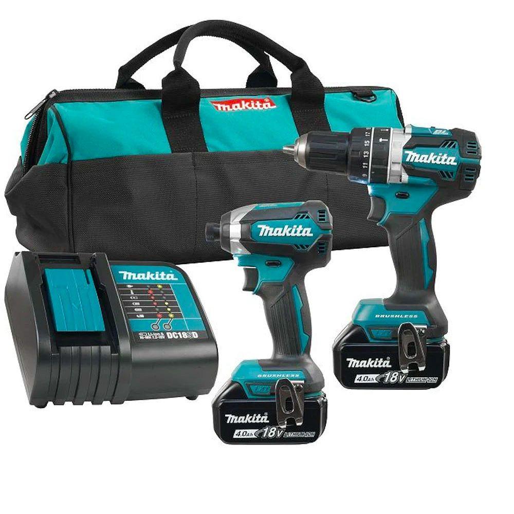 MAKITA 18V 4.0 Ah Brushless Cordless Hammer Drill and Impact Driver Combo Kit