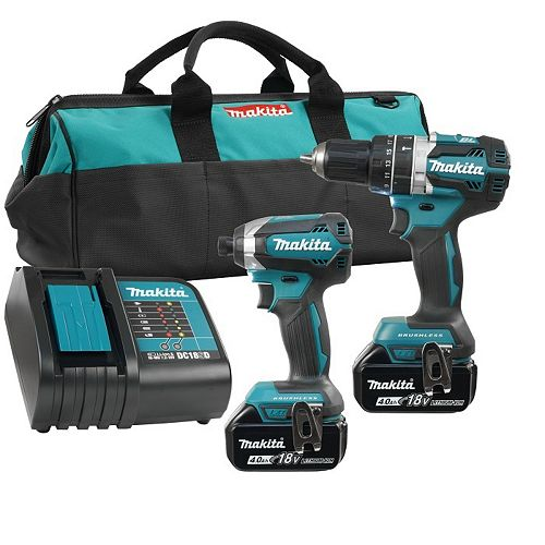 18V 4.0 Ah Brushless Cordless Hammer Drill and Impact Driver Combo Kit