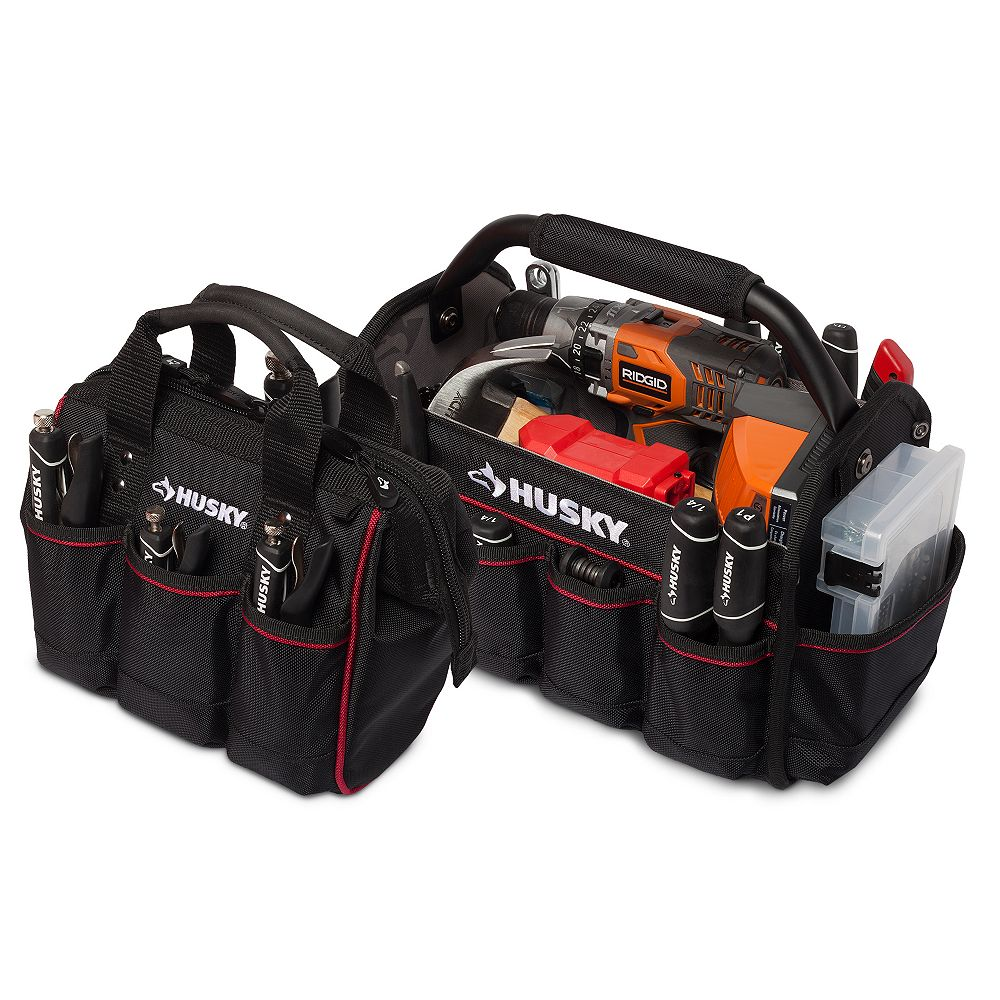 Husky 14-inch Pro Tool Tote and 10-inch Tool Bag Set