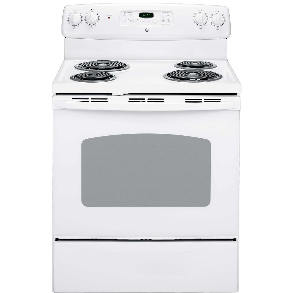 GE 30-inch 5.0 cu.ft. Single Oven Electric Range with Self-Cleaning Oven in White
