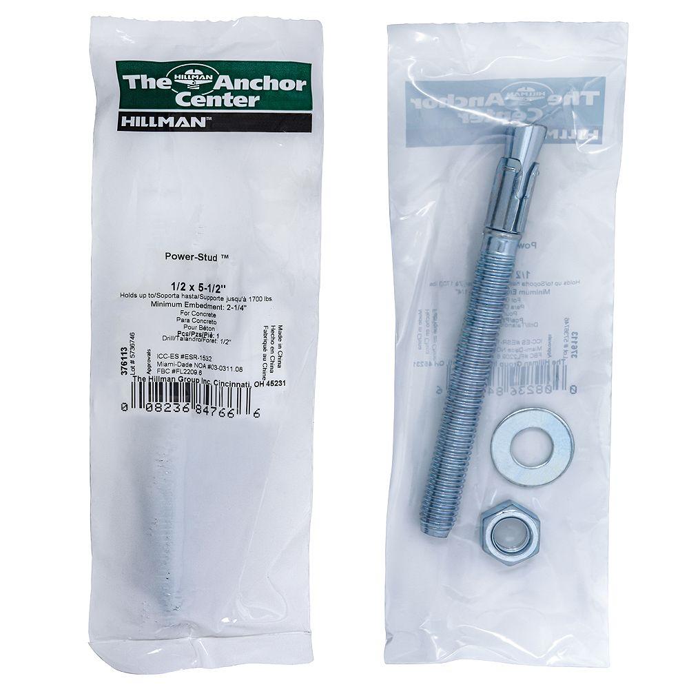 Hillman 1/2 pouce x 5-1/2 pouce Power-Stud+ SD1 Ancrage en zinc - 1 paquet