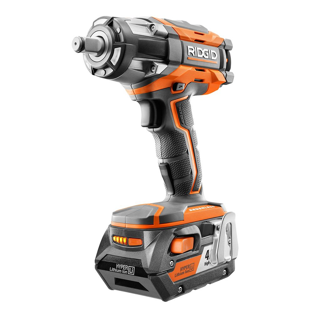 RIDGID 18V GEN5X Cordless Brushless 1/2-Inch Impact Wrench with Belt Clip & 4.0Ah Battery