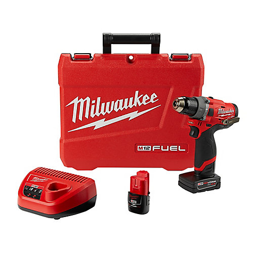 M12 FUEL 12V Li-Ion 1/2-inch Brushless Cordless Hammer Drill Kit with 4.0 Ah & 2.0 Ah Batteries