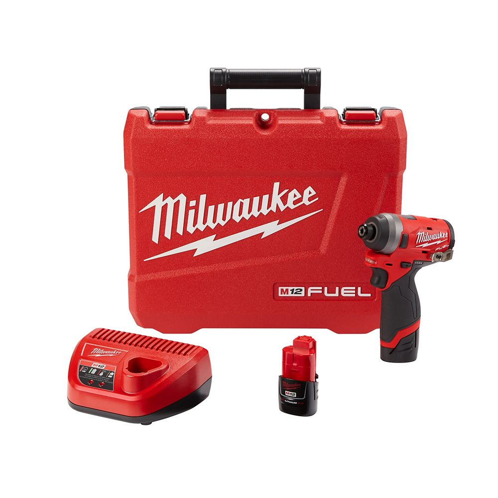 Milwaukee Tool M12 FUEL 12V Li-Ion Brushless Cordless 1/4-inch Hex Impact Driver Kit with (2) 2.0Ah Batteries