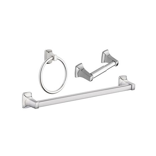 Adler Bath Hardware Kit in Chrome (3-Piece) with Towel Ring, 18-inch Towel Bar and Paper Holder