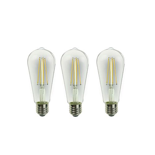 Ecosmart 60W Equivalent Clear Soft White ST19 E26 Dimmable LED Light Bulb (3-Pack)