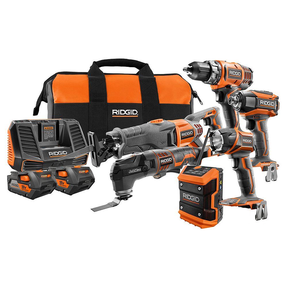 RIDGID 18V Cordless Combo Kit (6-Tool) with (2) 4.0Ah Batteries