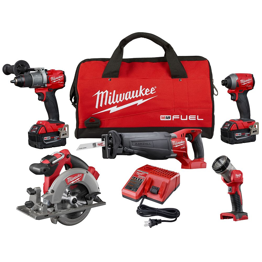 Milwaukee Tool M18 FUEL 18V Lithium-Ion Brushless Cordless Combo Kit (5-Tool) W/ (2) 5.0 Ah Batteries, Charger, Bag