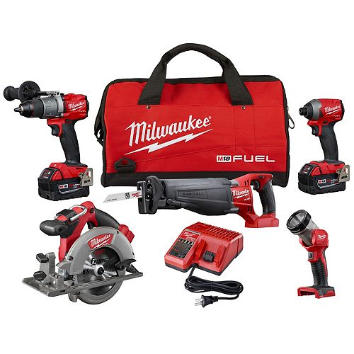 M18 FUEL 18V Lithium-Ion Brushless Cordless Combo Kit (5-Tool) W/ (2) 5.0 Ah Batteries, Charger, Bag