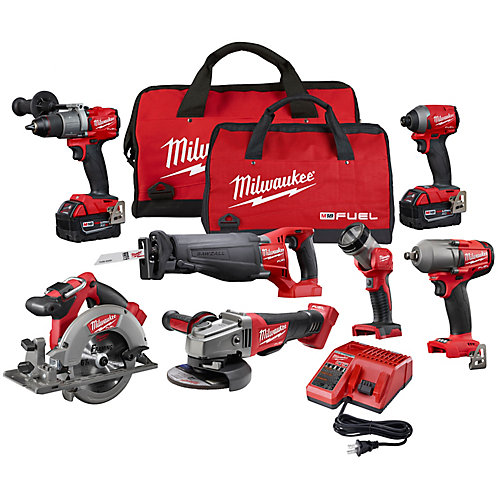 M18 FUEL 18V Li-Ion Brushless Cordless 7 Tool Combo Kit W/ (2)5 Ah Batteries, 1 Charger, 2 Tool Bags