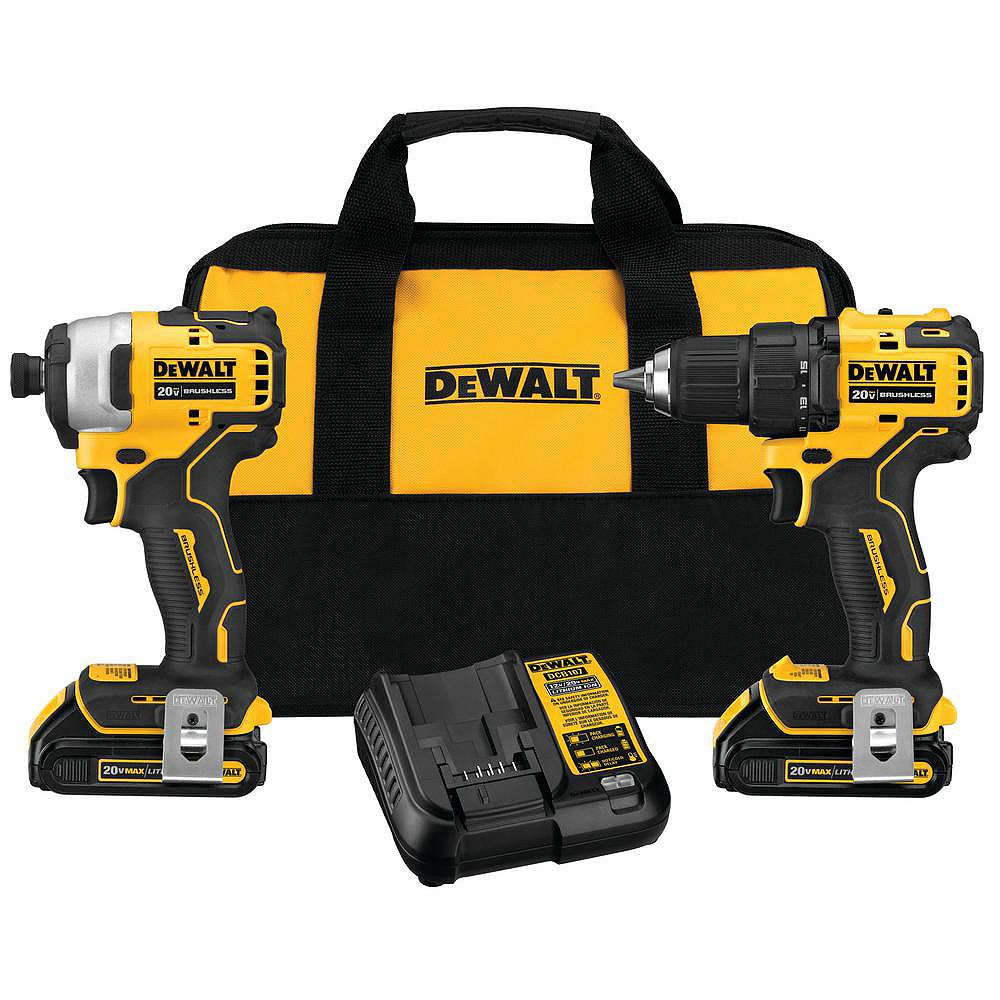 DEWALT 20V MAX ATOMIC Lithium-Ion Cordless Brushless Compact Drill and Impact Driver Combo Kit (2-Tool) with (2) 1.3Ah Batteries, Charger and Bag