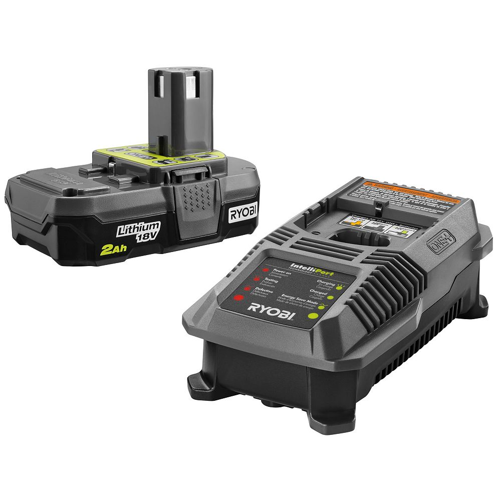 RYOBI 18V ONE+ Lithium-Ion 2.0 Ah Compact Battery and Charger Starter Kit