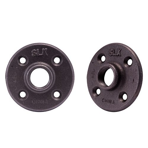 Fitting Black Iron Floor Flange 3/4 inch, 2 Pack