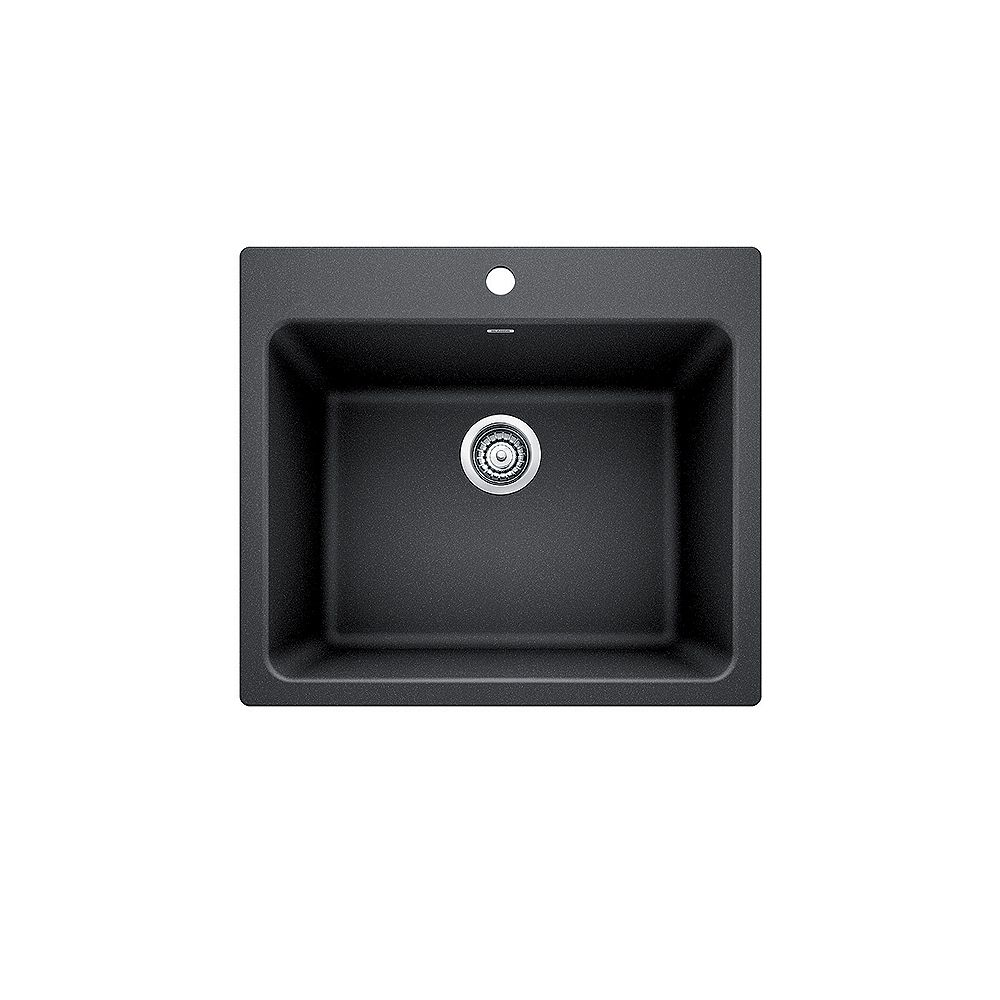 Blanco LIVEN, Single Bowl Undermount or Drop-in (Dual-mount) Laundry Sink, SILGRANIT Anthracite