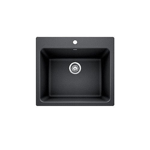 LIVEN, Single Bowl Undermount or Drop-in (Dual-mount) Laundry Sink, SILGRANIT Anthracite