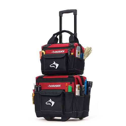 Husky 14-inch Rolling Tool Storage Tote with Bonus Bag in Red
