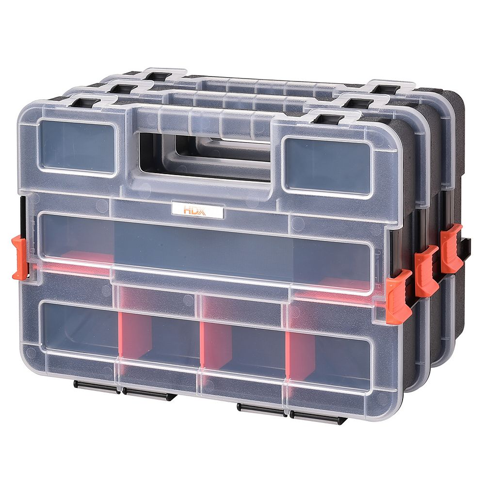 HDX 3-Pack Interlocking Small Parts Organizer with Adjustable Compartments