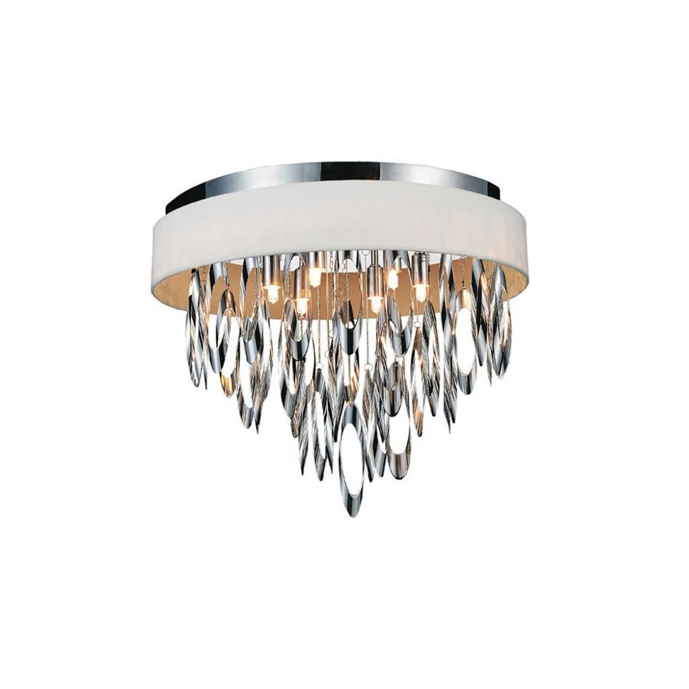 CWI Lighting Excel 19 inch 6 Light Flush Mount with Chrome Finish