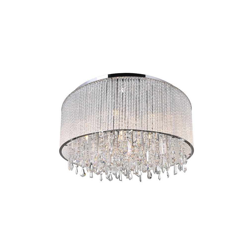 CWI Lighting Benson 24 inch 14 Light Flush Mount with Chrome Finish