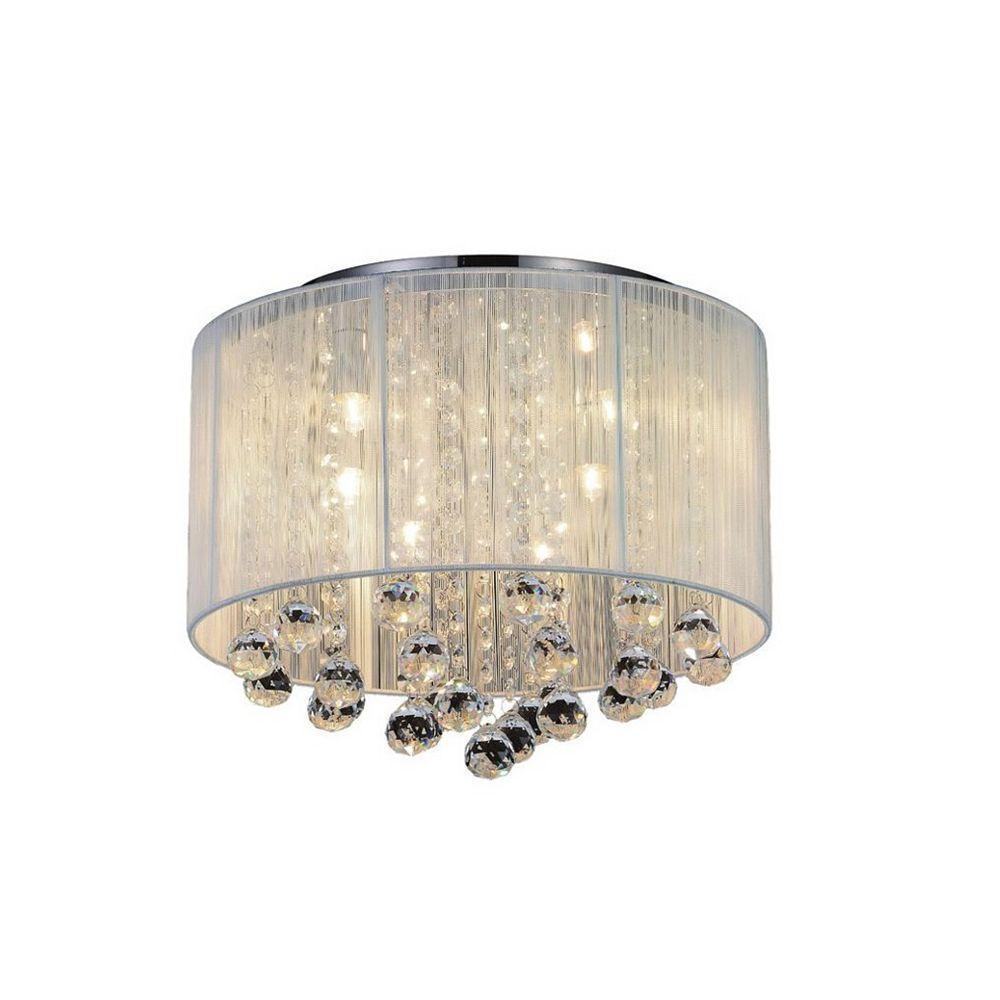 CWI Lighting Shower 14 inch 6 Light Flush Mount with Chrome Finish