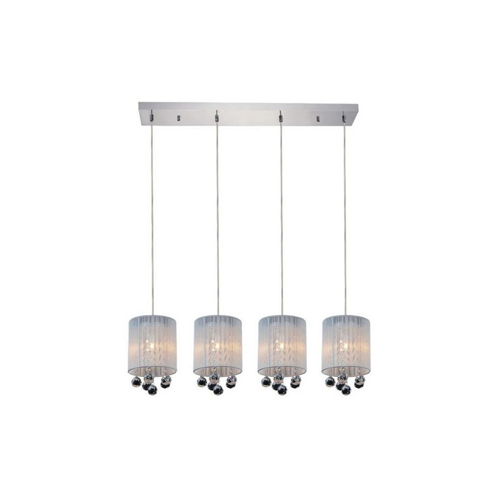 CWI Lighting Shower 33 inch Four Light Chandelier with Chrome Finish