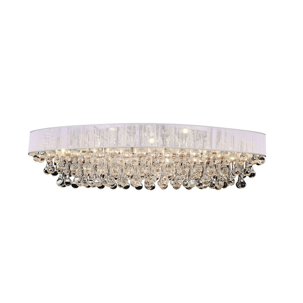 CWI Lighting Atlantic 36 inch 10 Light Flush Mount with Chrome Finish