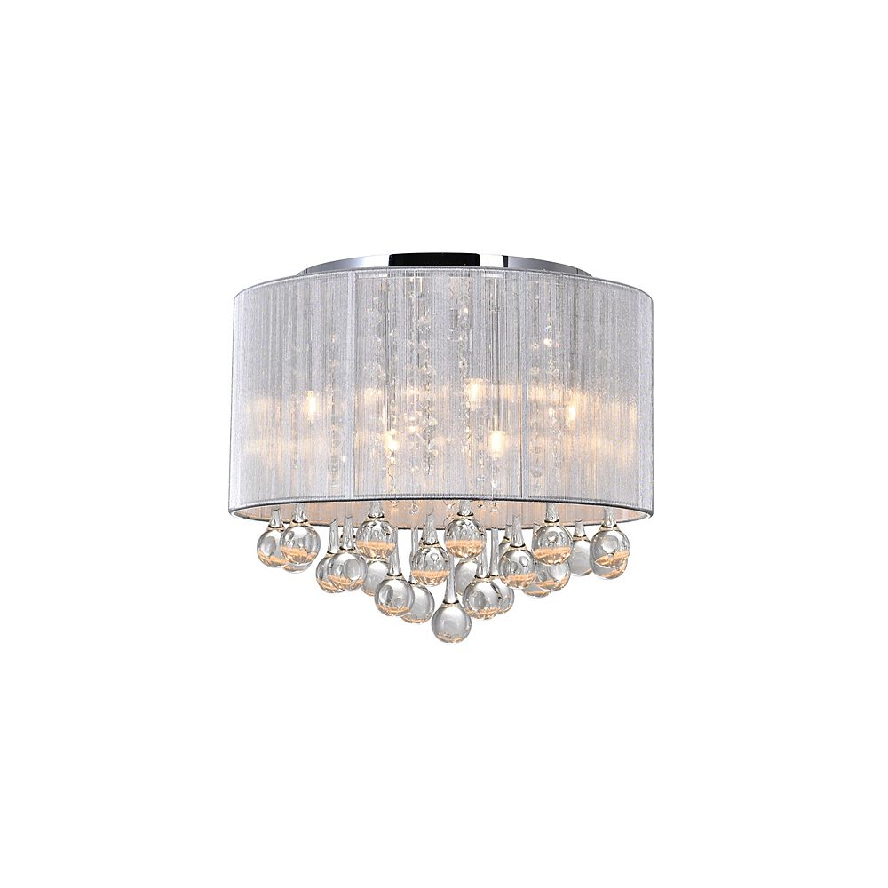 CWI Lighting Water Drop 16.5 inch Six Light Flush Mount with Chrome Finish