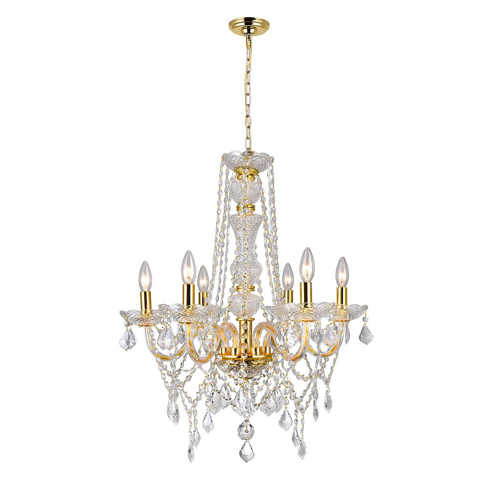 CWI Lighting Princeton 24 inch 6 Light Chandelier with Gold Finish