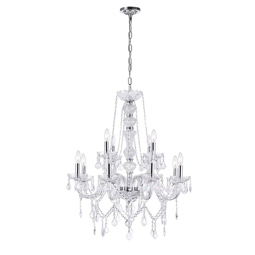 CWI Lighting Princeton 30 inch 12 Light Chandelier with Chrome Finish