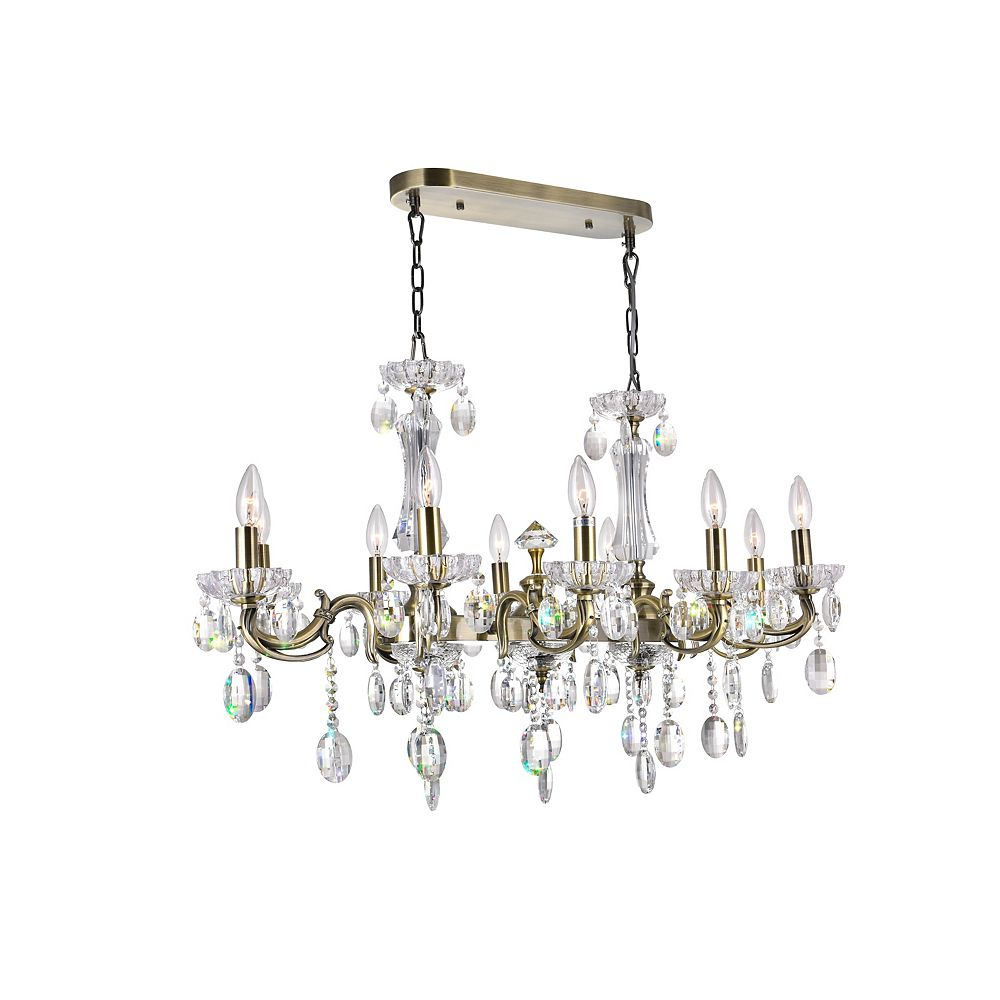 CWI Lighting Flawless 37.5 inch 10 Light Chandelier with Antique Brass Finish