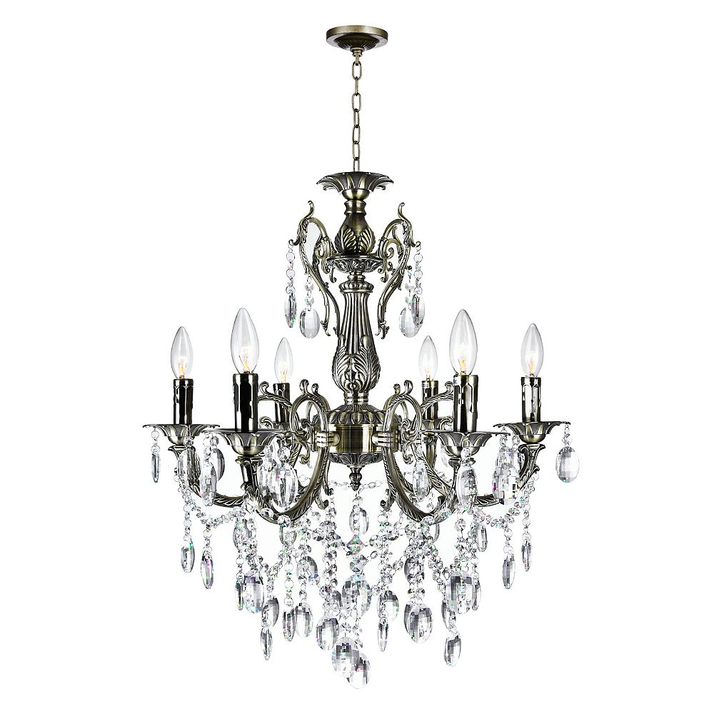 CWI Lighting Brass 24 inch 6 Light Chandelier with Antique Brass Finish