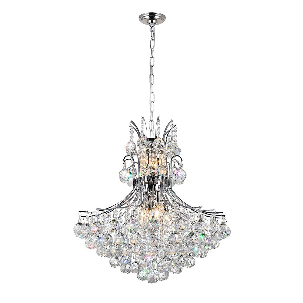 CWI Lighting Princess 24 inch 10 Light Chandelier with Chrome Finish