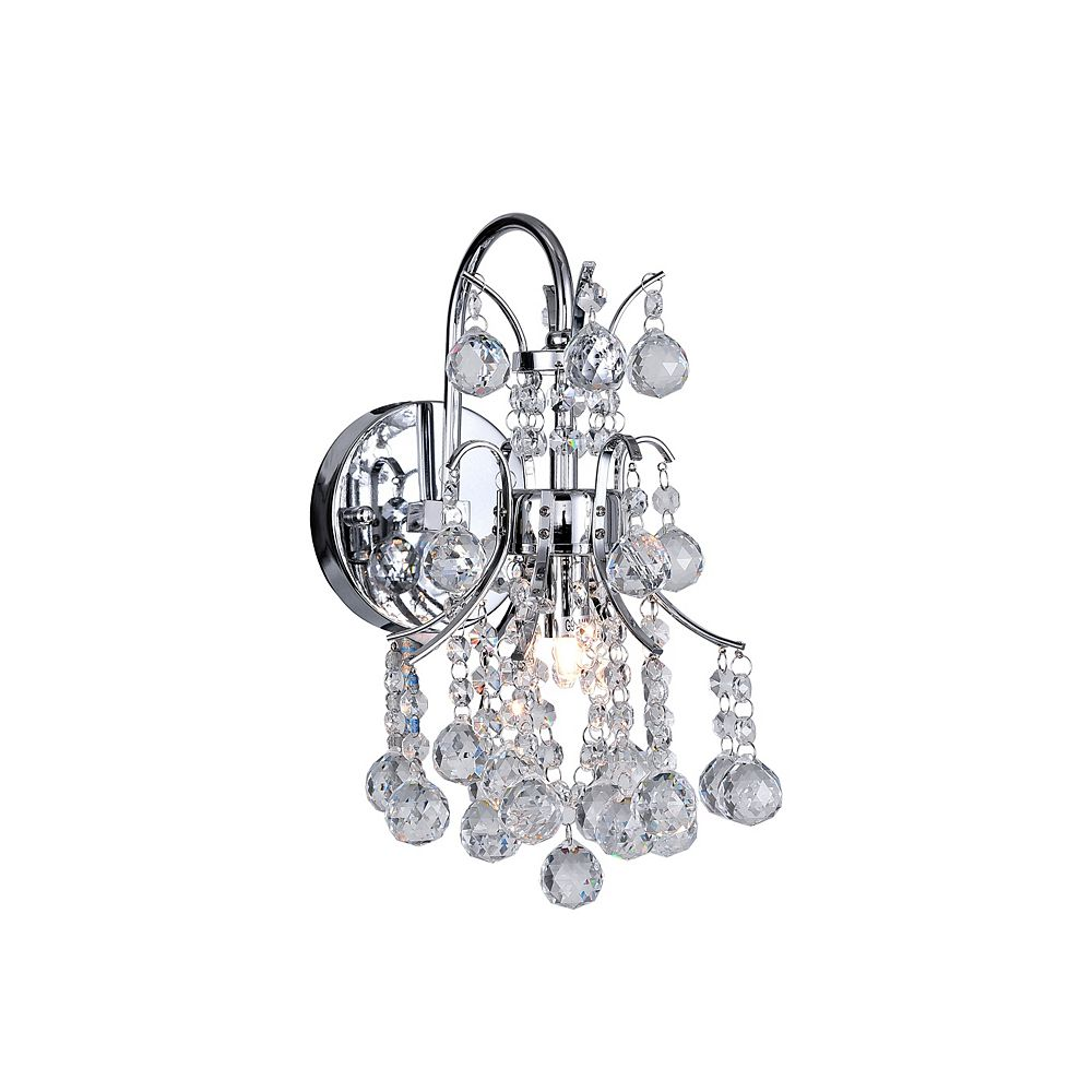 CWI Lighting Princess 9 inch 1 Light Wall Sconce with Chrome Finish