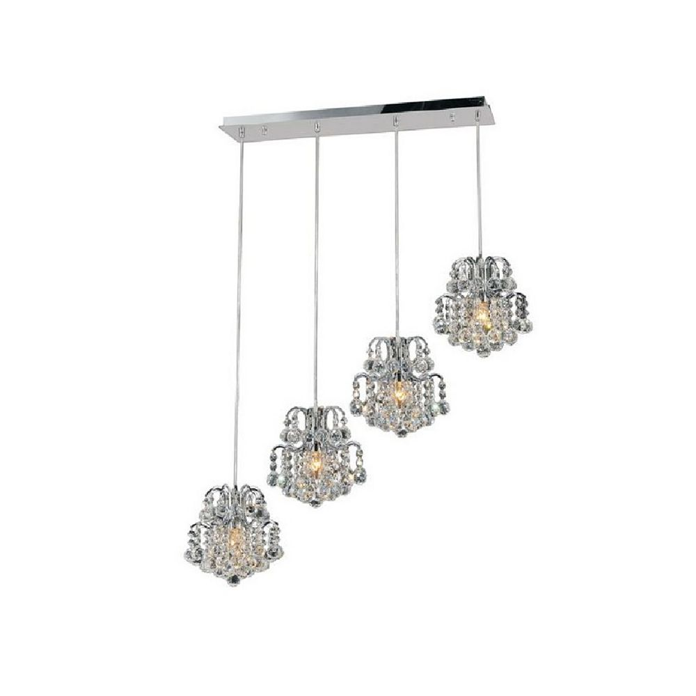 CWI Lighting Blossom 33 inch 4 Light Chandelier with Chrome Finish