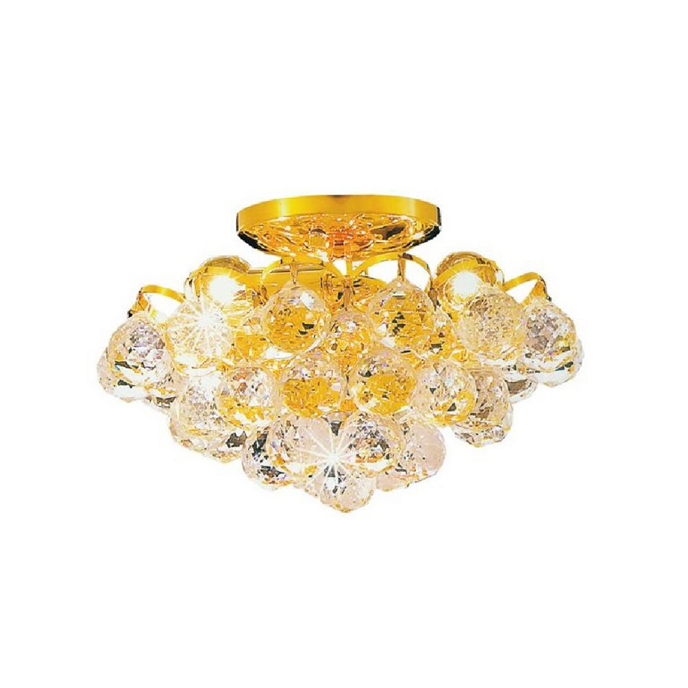 CWI Lighting Glimmer 12 inch 3 Light Flush Mount with Gold Finish