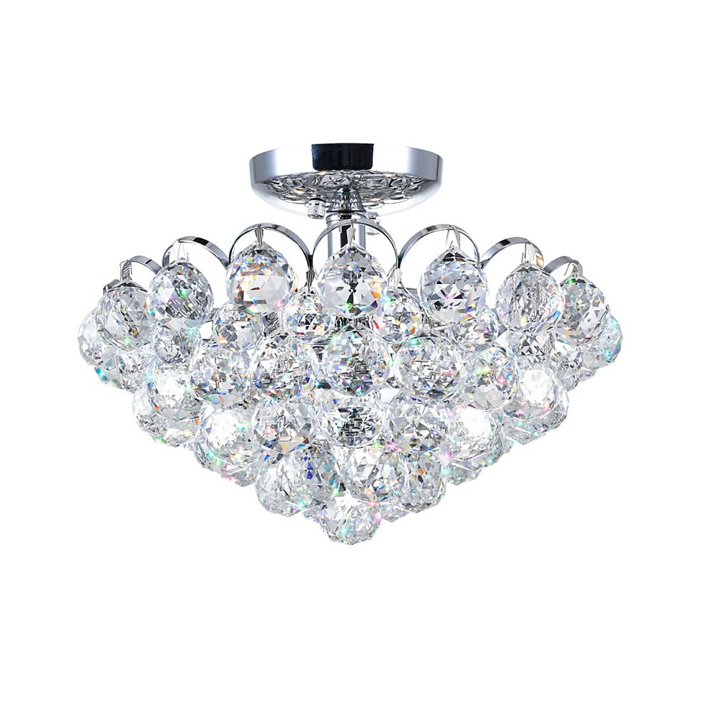 CWI Lighting Glimmer 14 inch 4 Light Flush Mount with Chrome Finish