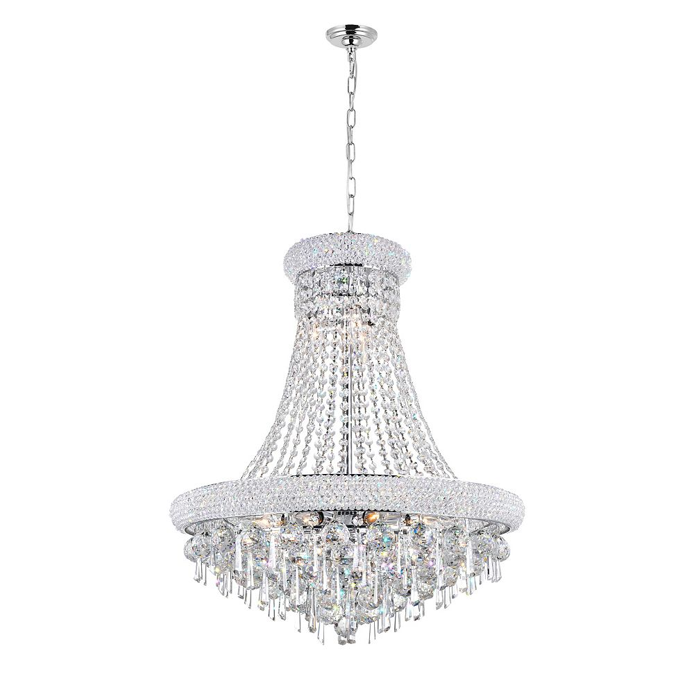 CWI Lighting Kingdom 24 inch 13 Light Chandelier with Chrome Finish