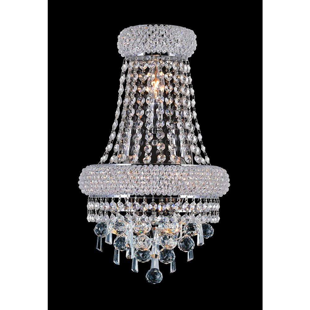 CWI Lighting Kingdom 7 inch 3 Light Wall Sconce with Chrome Finish
