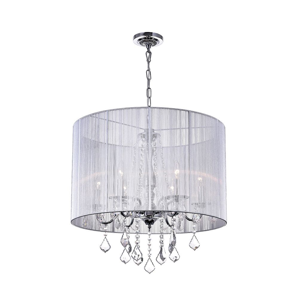 CWI Lighting Sheer 24 inch 6 Light Chandelier with Chrome Finish