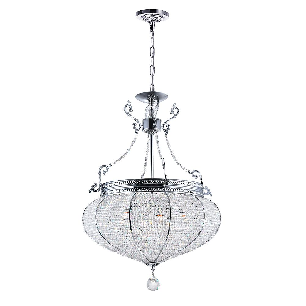 CWI Lighting Lily 17 inch 6 Light Chandelier with Chrome Finish