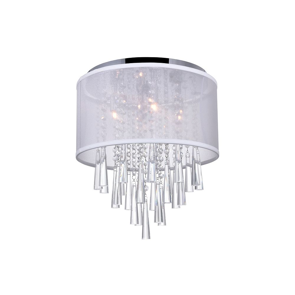CWI Lighting Renee 19 inch 8 Light Flush Mount with Chrome Finish