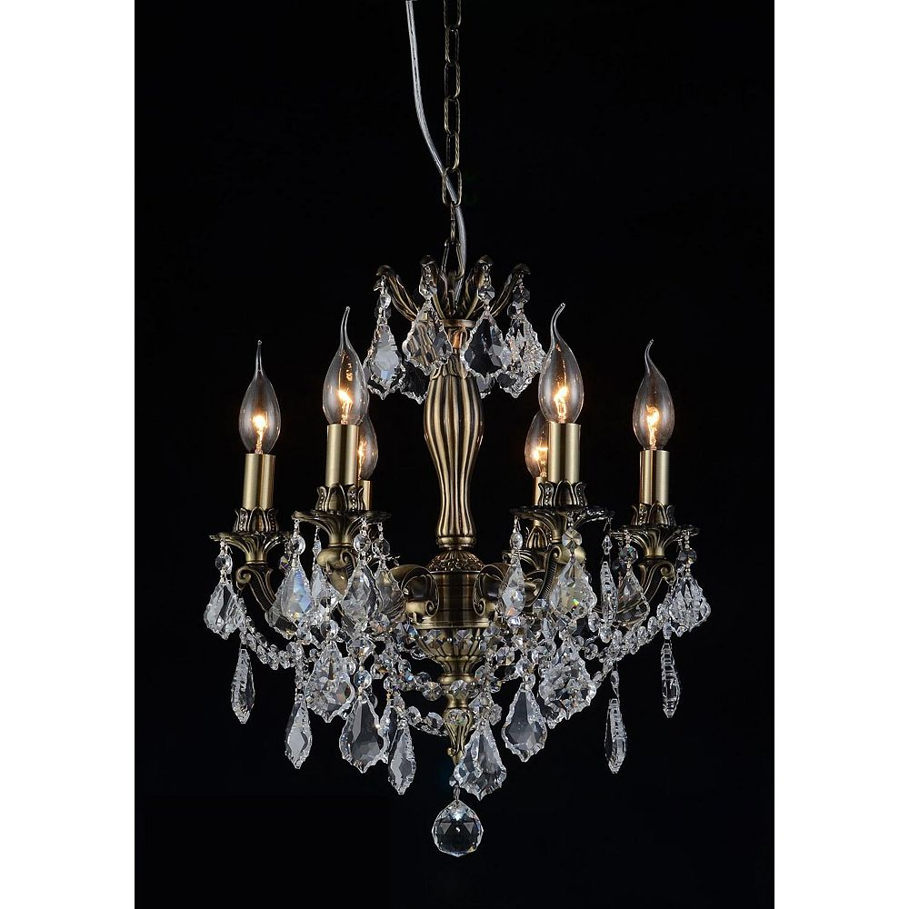 CWI Lighting Brass 18 inch 6 Light Chandelier with Antique Brass Finish